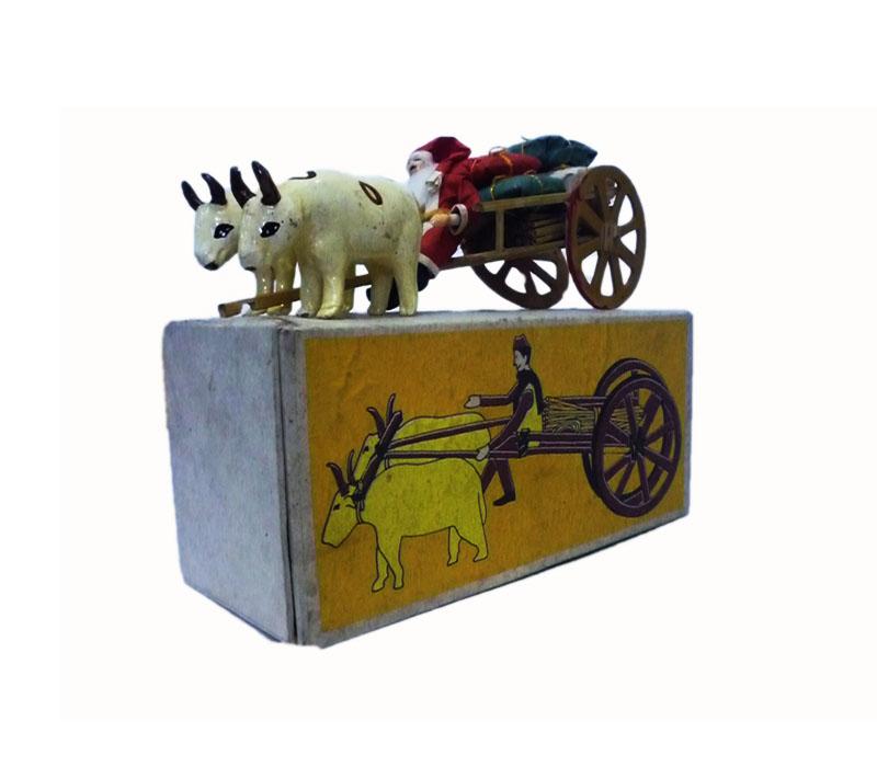 Santa Riding on a Ox-Cart